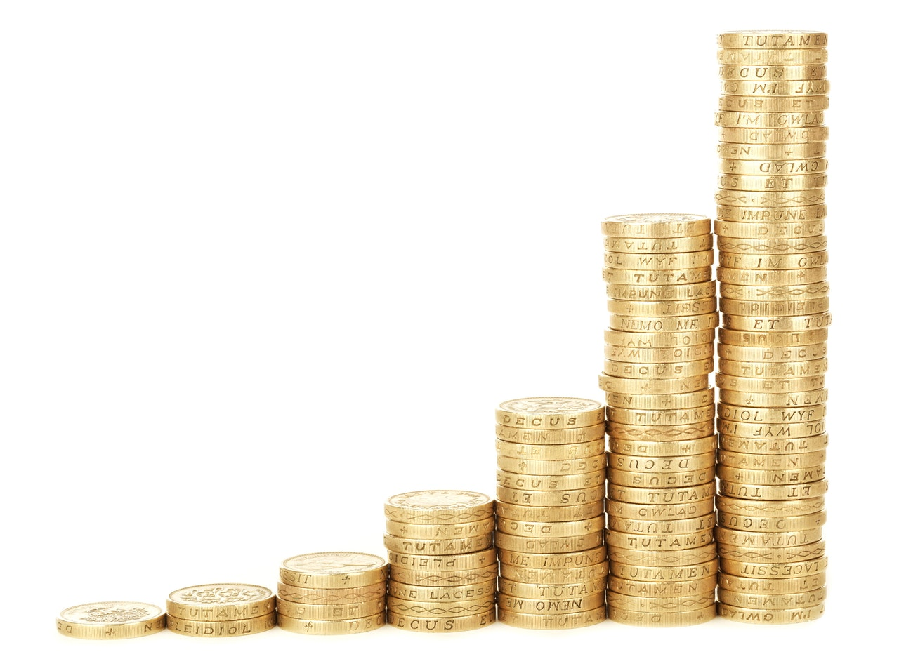 Achievement Bar Business Chart in Old Pound Coins