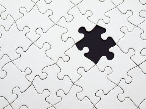 White Jigsaw Puzzle Missing Piece