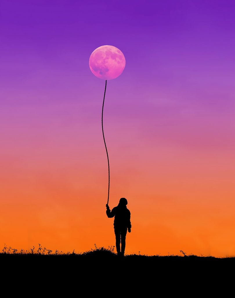 Woman with Stick Holding Moon like a Balloon