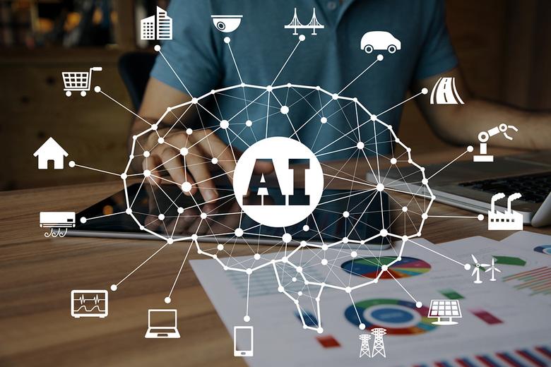 AI Behind Algorithm In Brain Shaped Chart